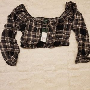 Cropped Plaid Puff Long Sleeve